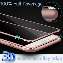 3D Aluminum Edge Tempered Glass For iPhone 7 Plus 6 6s Plus Case Ultra-thin Full Protect With 3D Touch 9H Screen Protective Film(China)
