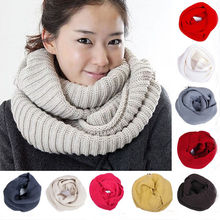 Hot Sale Women Winter Warm Infinity 2 Circle Cable Knit Cowl Neck Long Scarf Shawl Fashion Beautiful Scarves  High Quality