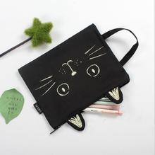 Cute Cat A4 Canvas Bag Fabric File Folder Document Bag  Briefcase  Paper Storage Organizer Bag Office  School Supplies