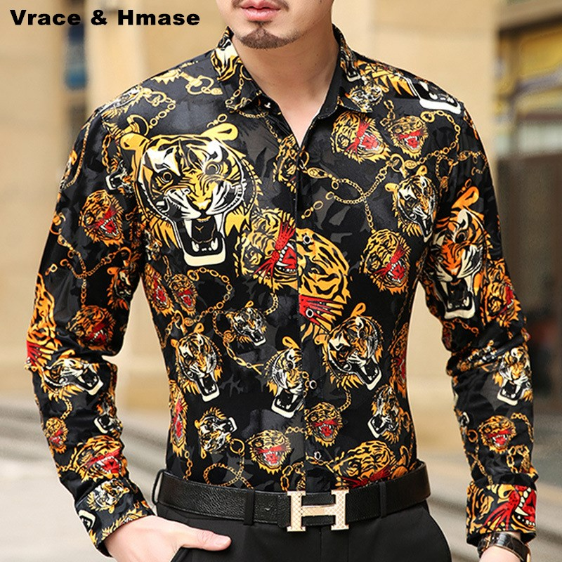 Personalized Leopard printing gold velvet boutique long-sleeved shirt 2018 Autumn&Winter fashion casual quality men shirt S-XXXL