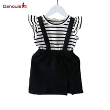 Fashion Girl Clothing Sets Summer Children's Outfits Overall Suit Casual T-Shirt+Bib Short 2 Pcs Flying Sleeve Clothing Sets Kid