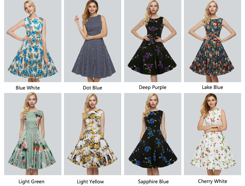 ACEVOG Women Dress Retro Vintage 1950s 60s Rockabilly Floral Swing Summer Dresses Elegant Bow-knot Tunic Vestidos Robe Oversize 7