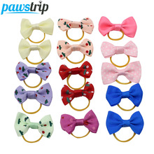 10pcs/lot Ribbon Pet Dog Hair Bow Small Puppy Rubber Band Hairpin Grooming Accessories(China)