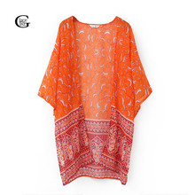 Lace Girl 2017 Casual Long Kimono Tops Women Cashew Printed Outwear Long Sleeve Loose Kimono Cardigan Coat Tops Orange Cover Up(China)