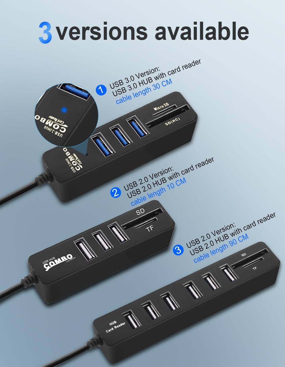 USB Hub 3.0 Multi USB 3.0 avec lecteur de cartes mémoires