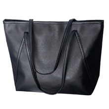 Women's Leather Satchel Shoulder Bag Leather Handbag Big Zipper (Black)