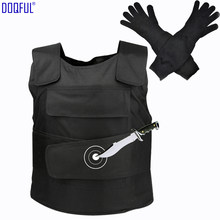 Tactical Stabproof Vest Anti Cut Work Long Gloves Outdoor Safety Knife Resistant Clothes Self Defense Tungsten Steel Iiner Plate(China)
