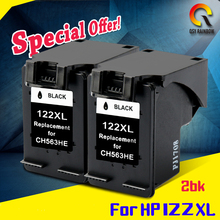 2pcs BK for HP122 122xl ink cartridge for HP Deskjet 1000 1050 2000 2050 2050s 3000 3050A 3052A 3054 1010 1510 2540(China)