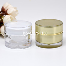 10g Gold Acrylic Cream Bottle Cosmetic Containers Straight Round Acrylic Bottle for Eye cream/cream skin care products packagin(China)