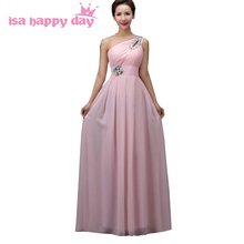one shoulder floor length gowns pink country western bridesmaid dress 2017 bridesmais chiffon bridesmaid dresses under 100 H3754(China)