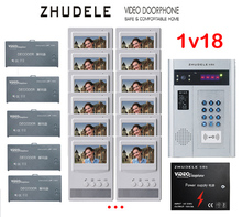 "ZHUDELE Building Home security intercom system 18 Units Apartment Video Door Phone Bell Intercom System 4.3""TFT monitor IN STOCK"