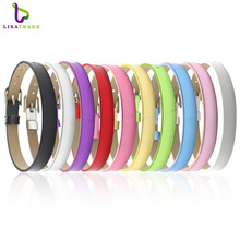 "8MM PU Leather Metal Wristband Bracelets "" Can Choose the Color""  (20 pieces/lot) DIY Accessory Fit Slide Letter LSBR07*20"