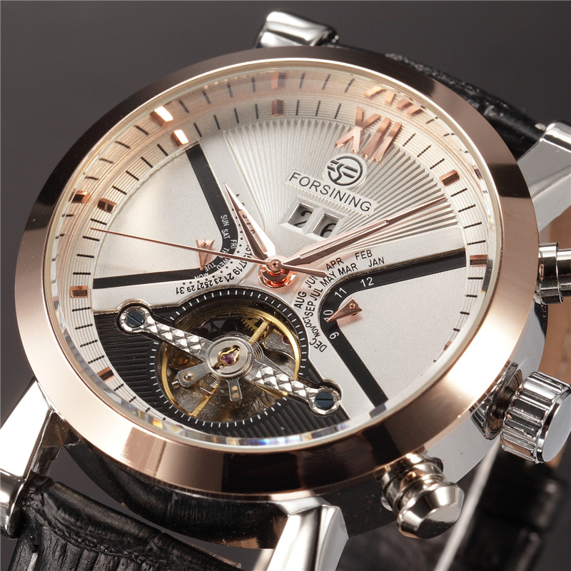 FORSINING Tourbillon Wrap Mens Watches Automatic Watch Golden Case Calendar Male Clock Black Mechanical Watch Relogio Masculino<br>