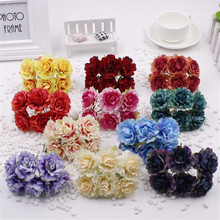 6pcs 4.5cm Silk Artificial chrysanthemum Flowers For Wedding Party Home Hats Shoes Decoration DIY Marriage Wreath Plants