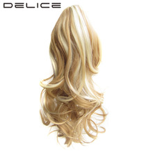 DELICE 16inch Women Short Curly Claw Ponytail Heat Resistance Synthetic Pony tail Hairpiece 27H613 Blonde Black
