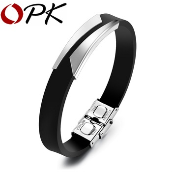 OPK Fashion Silicone Men's Bracelets Unique Cutting Hollow Design Length Adjustable Stainless Steel Man Jewelry Bangles PH1106