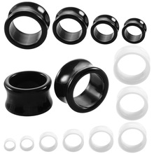 SwanJo 1 Pair Black White Acrylic Ear Tunnel Gauges Flesh Double Flared Tunnels Body Piercing Jewelry