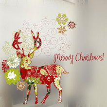 Color Deer Christmas Window Stickers Muurstickers Home Decor Wall Sticker Christmas Decorations For Home PVC Wall Decals