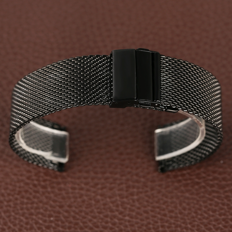 Mesh Milanese Bracelet Clasp Watchbands High Quality 18mm 20mm 22mm Silver Black Wrist Watch Band Strap for Clock Replacement 2018 (23)