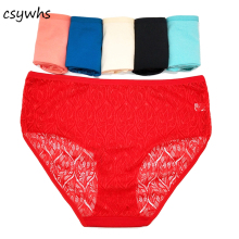 Buy CSYWHS Plus Size Lace Transparent Briefs Women Sexy Underwear Mid Rise Panties Cotton Female Intimates Lingerie 6pcs/lot