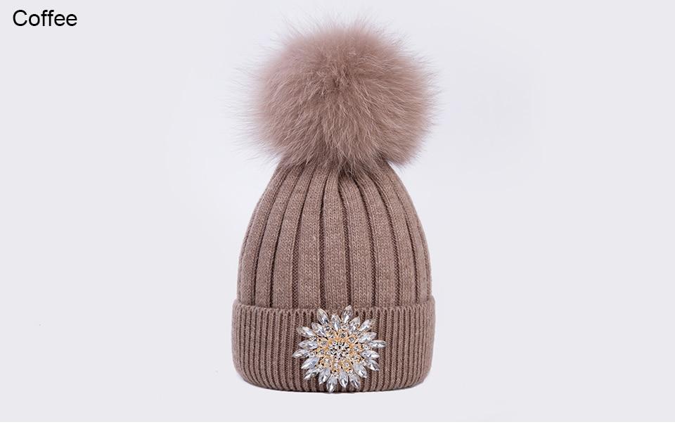 Ralferty Women's Real Fox Pompom Hat Knitted Rabbit Skullies Winter Hats For Women Big Flower Crystal Beanies Black Cap bonnet 17