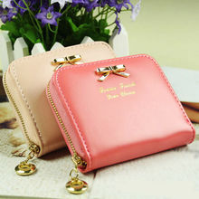 Womens Fashion Mini Faux Leather Purse Zip Around Wallet Card Holders Handbag(China)