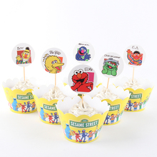 24pcs/lot New Sesame Street Cupcake Wrappers Toppers For Kids Party Birthday Decoration Cake Cups(12 wraps+12 topper)(China)