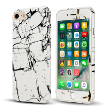 CreatValu Hybrid 360 Full Body Shockproof Marble Hard PC Case+Tempered Glass Cover For iPhone 7 7 8 Plus 6 6s Plus(China)