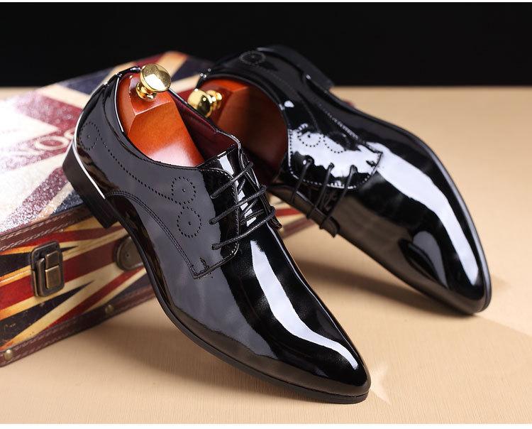 NPEZKGC Big Size 38-48 Men Shoes PU Leather Casual Shoes Fashion Lace Up Oxfrds Shoes Breathable Patent Leather Men Flat Shoes 17