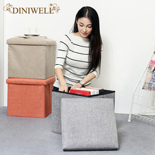 DINIWELL Square Linen Folding Home Storage Box Clothing Organizer Toy Box Chair Stool Seat