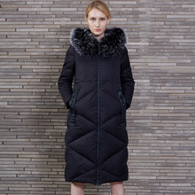 GASANIA G Europe and the United States Female Hooded Raccoon fur collar Solid color White duck down Long section Loose Down jack