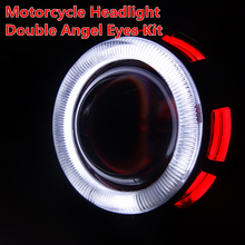 New Motorcycle Headlight HID Bi xenon Lens Projector Kit With Double Two Angel Eyes Halo For Suzuki Yamaha Kawasaki Honda