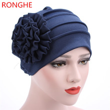 RongHe Women Hat Beanies New Pattern Side Decals Spring Summer Lady Turban Muslims Cotton Chemo Cap Fashion Flower Ruffle Hats