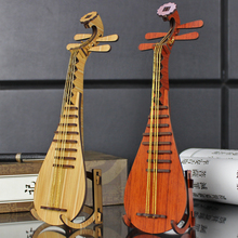 creative DIY wooden lute model to be assembled musical instruments ornaments wood decoration wood furniture shooting props(China)