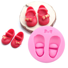 X059 Children's Day Cute Pair Bowknot Baby Shoe Silicone Fondant Mould Cake Decorating Mold Cupcake(China)