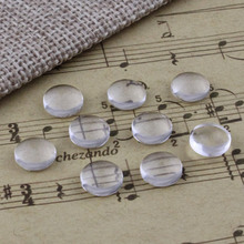 8mm Thickness:3mm Round Flat Back Clear Glass Cabochon Dome Cameo Jewelry Finding 30pcs/lot (K02892)(China)
