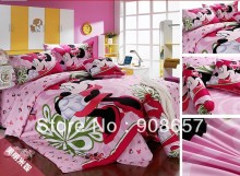 twin full queen king duvet covers cotton bedding set cute pink cartoon minnie mouse prints children's girls bed linens 3pcs 4pcs