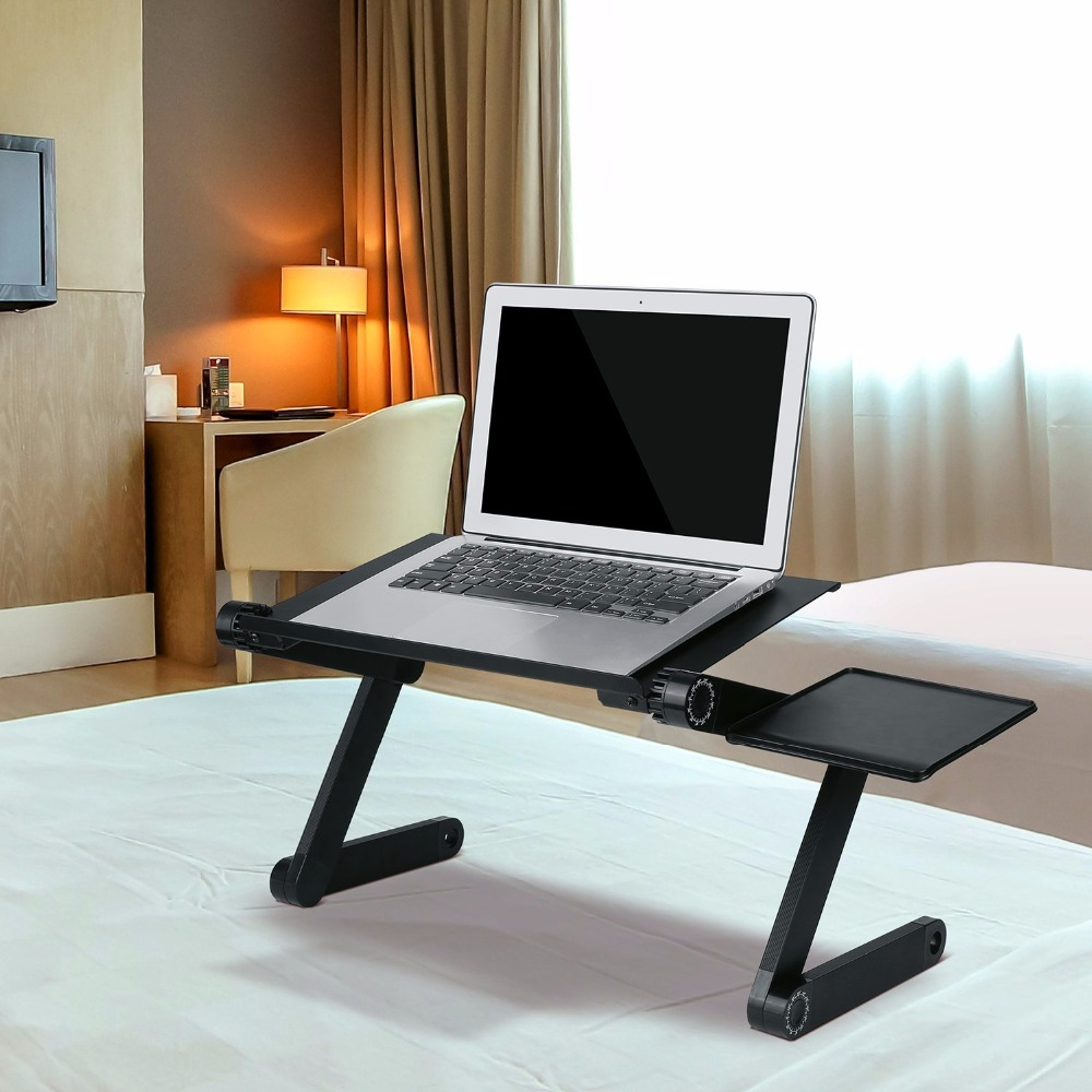 Adjustable Portable Laptop Table with fan Stand Lap Sofa Bed Tray Computer Notebook Desk bed table (China)