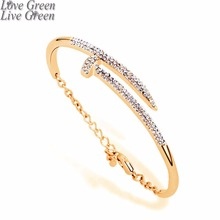 new 100% rose gold Screw brand design stainless steel 316L carved logo with without crystal bangle bracelet jewelry 75394(China)