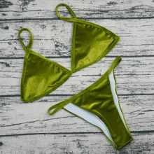 Buy Velvet Bikini 2018 Sexy Micro Bikinis Women Swimsuit Bandage Swimwear Halter Top Brazilian Bikini Set Beach Bathing Suit Biquini