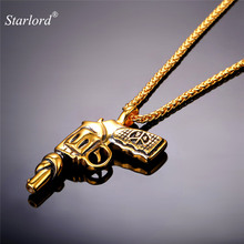 Starlord Steampunk Revolver/Gun Pendant&Necklace American Style Jewelry Cool Stainless Steel Gold Color Chain For Men GP1846(China)