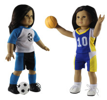 "New 2 Set Sportswear Doll Clothes+Shoes+Socks+Basketball+Football for 18""American Girl Doll(China)"