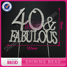 Free Shipping! Popular Number 40 Fabulous Rhinestone Cake Topper for Party/Anniversary Decor,Sliver 40 & Fabulous Cake Topper