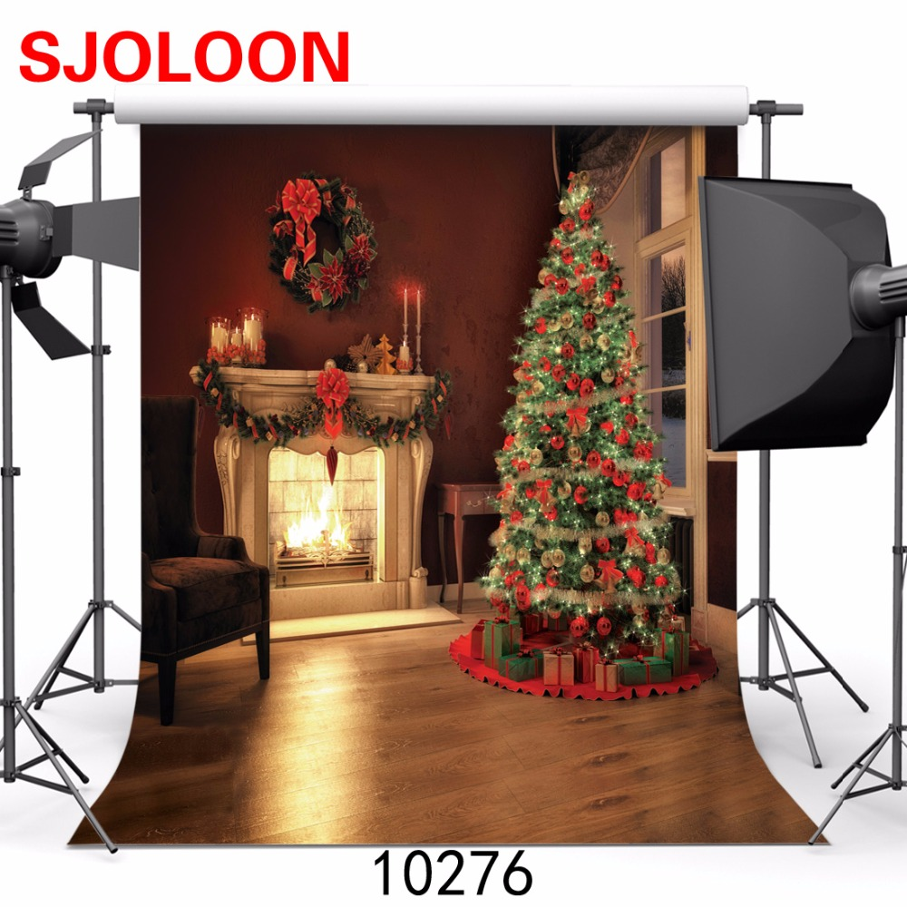 New Christmas tree photography background  fireplace Fond studio photo vinyle  Photo background Photography-studio-backdrop <br><br>Aliexpress
