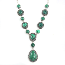 Brand Designer Vintage Green Malachite Stone Necklace Big Chunky Necklace Retro Green Necklaces for Women Jewelry nkek74