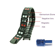 Men's Black Steel Bracelet Energy Wristband with 4 in 1 Germanium,Negative ions,FIR & Magnetic Stone Sports Fashion Jewelry