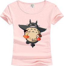New Casual Cotton Women's Tshirt Lovely Totoro Female Short Sleeve Tops White blue Pink Tees Hipster Clothing JT01