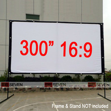300 Inches 16:9 Big Size Outdoor Frame Canvas Fabric Projection Screen for Any LED 3D Full HD Projectors, Watch Movies Ourside