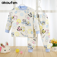 2018 new baby boy and girl clothes suit winter thick best quality children cartoon underwear suit cashmere kids clothing sets(China)