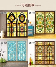 Custom European-style Stained retro church electrostatic glass film, opaque sliding door cabinet furniture window stickers(China)